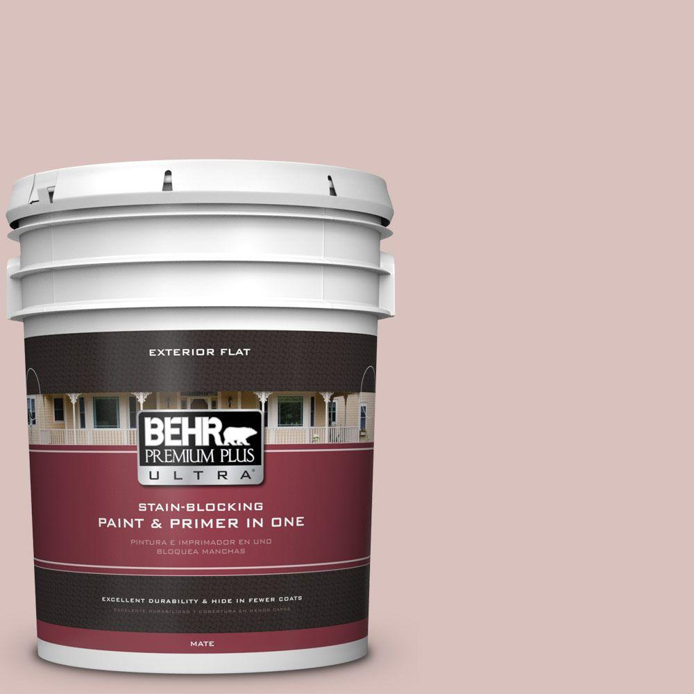 BEHR Premium Plus Ultra 5-gal. #PPU17-8 Peony Blush Flat Exterior Paint