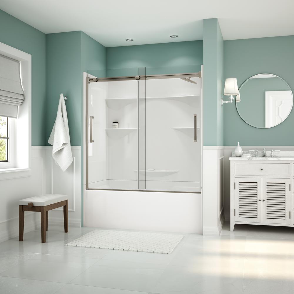 Artesia 56 in. - 59 in. x 59 in. Frameless Sliding Tub Door in Brushed Nickle