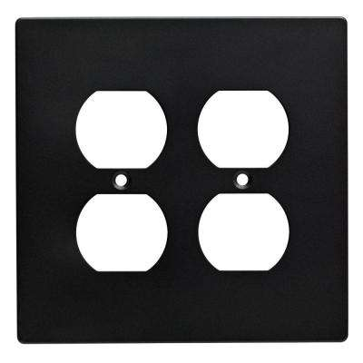 Subway Tile Decorative Double Duplex Outlet Cover, Flat Black