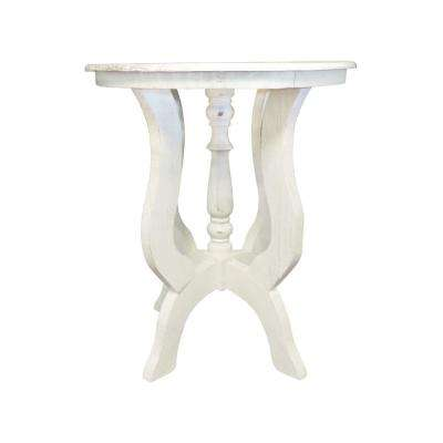 Distressed White Round Wooden End Table with 4 Legged Flared Pedestal Base