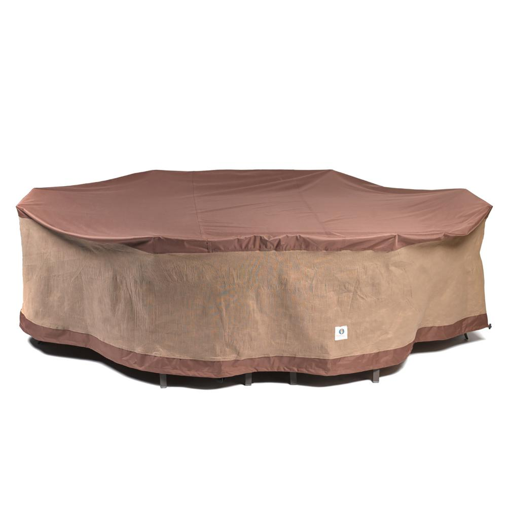 Duck Covers Ultimate 109 In L Rectangle Oval Patio Table And Chair Set Cover