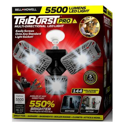 TriBurst Deluxe 10.5 in. 144 High Intensity LED 5500 Lumens Flush Mount Ceiling Light with Motion Sensor