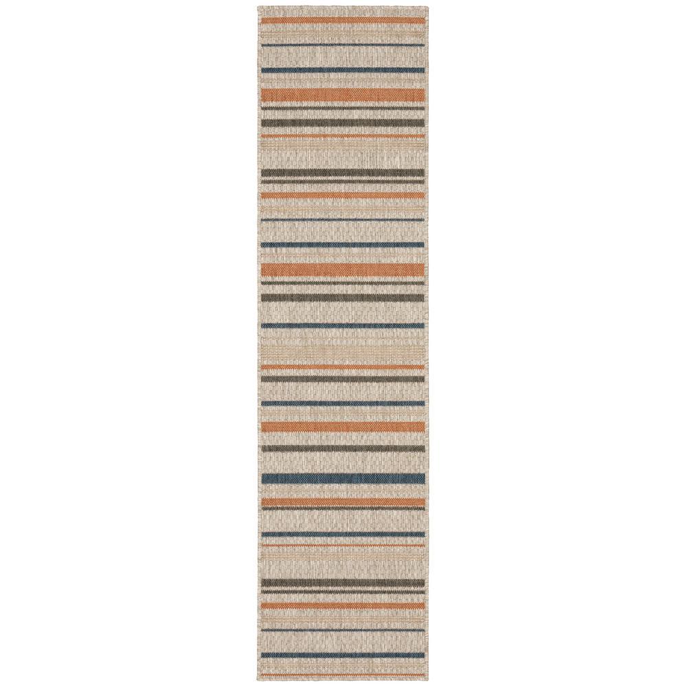Bermuda Stripe Grey-Blue 1 ft. 10 in. x 7 ft. 6 in. Indoor/Outdoor Runner Rug