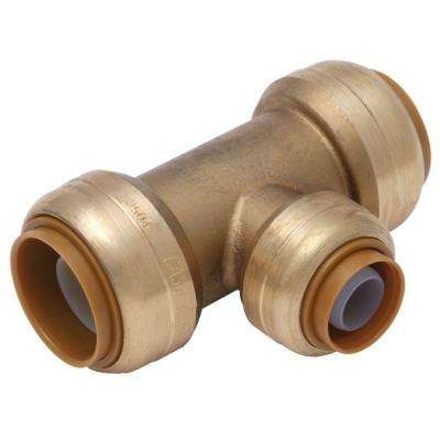 1/2 in. x 1/2 in. x 3/8 in. Brass Push-to-Connect Reducer Tee