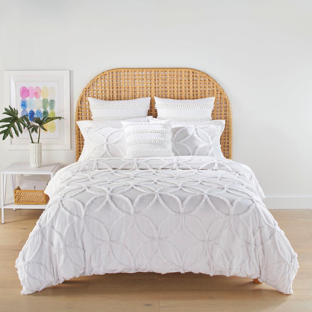 Trina Turk Breeze Block Geo White Cotton 3 Piece Full Queen Duvet Set Ushsfn1155423 The Home Depot