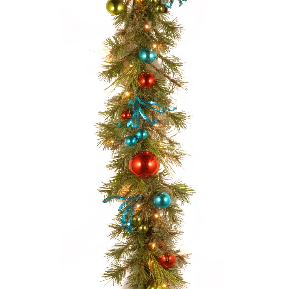 retro garland with battery operated warm white led lights - Battery Lighted Christmas Decorations