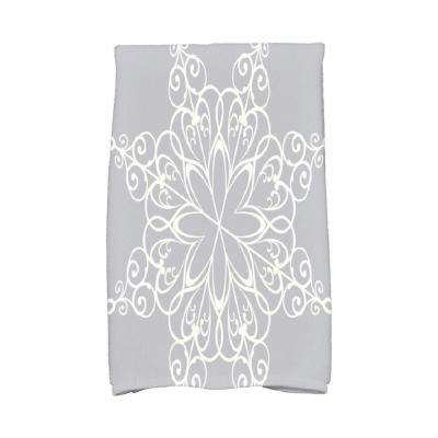 16 in. x 25 in. Gray Snowflake Holiday Geometric Print Kitchen Towel