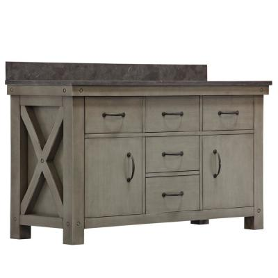 Aberdeen 60 in. W x 34 in. H Vanity in Grizzle Gray with Granite Vanity Top in Limestone with White Basins