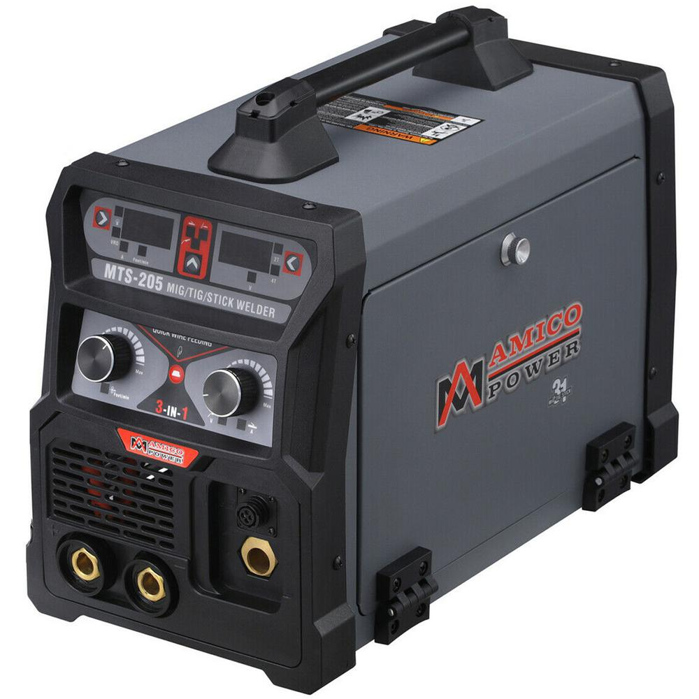 AMICO POWER 205 Amp MIG Wire Feed/Flux Core/TIG Torch/Stick Arc Welder, Weld Aluminum with 2T/4T 110-Volt/230-Volt Welding