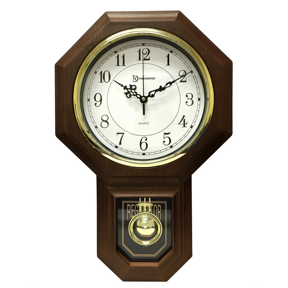 Timekeeper Products 18-1/2 in. x 11-1/4 in. Pendulum Westminster Chime Faux  Wood Wall Clock-180WAGM - The Home Depot