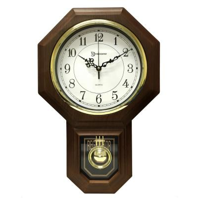 18-1/2 in. x 11-1/4 in. Pendulum Westminster Chime Faux Wood Wall Clock