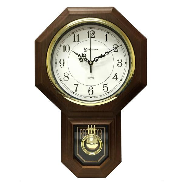 18-1/2 in  x 11-1/4 in  Pendulum Westminster Chime Faux Wood Wall Clock