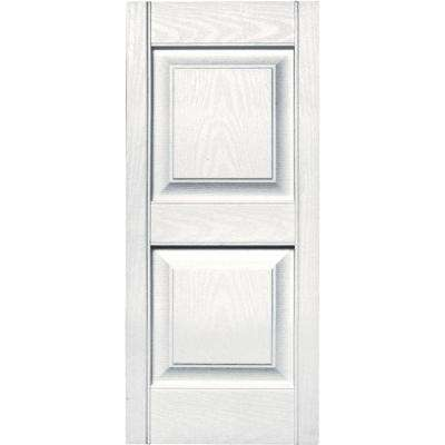 15 in. x 35 in. Raised Panel Vinyl Exterior Shutters Pair in #117 Bright White