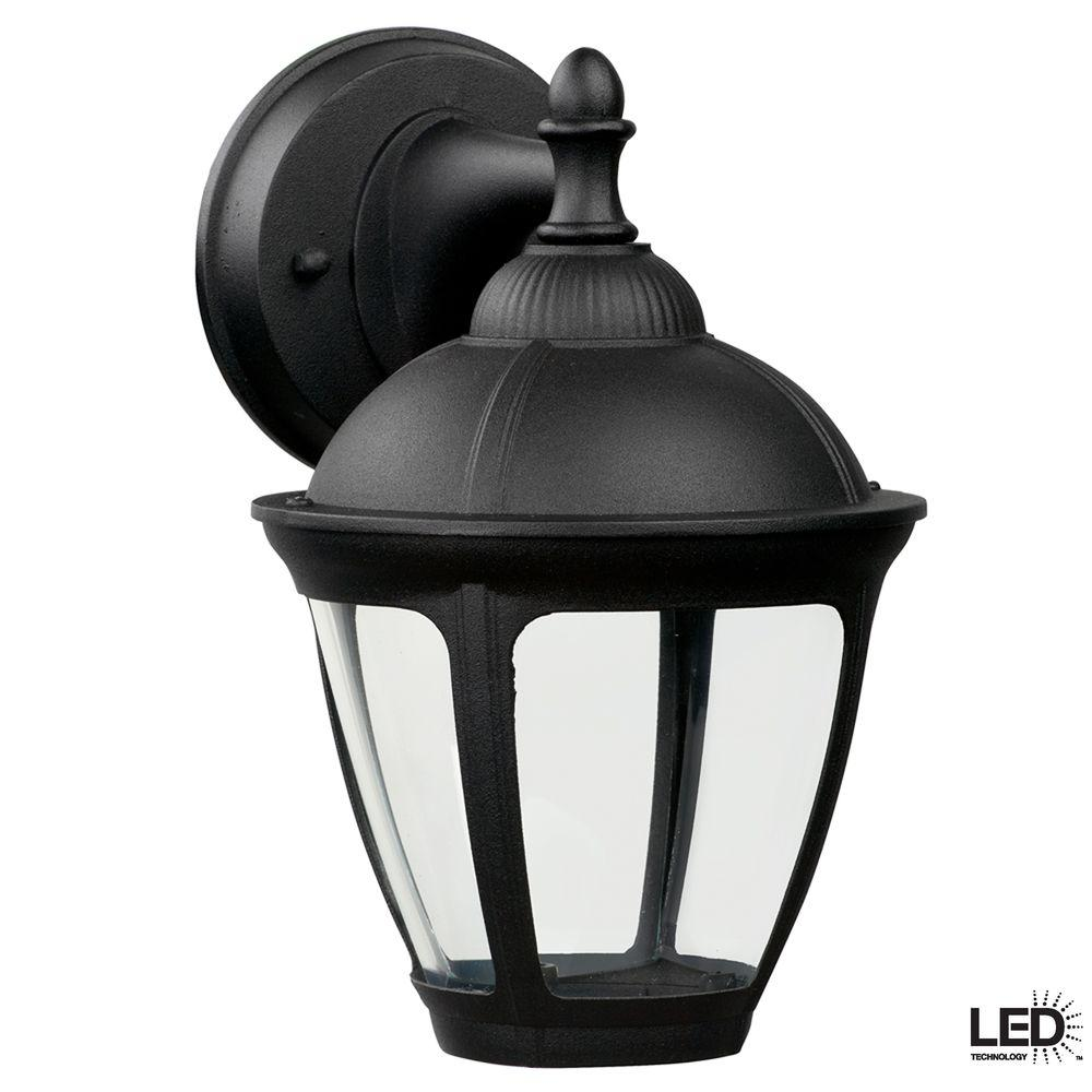 Hampton Bay Dawson Black Outdoor Integrated LED Wall Mount Lantern (2-Pack)