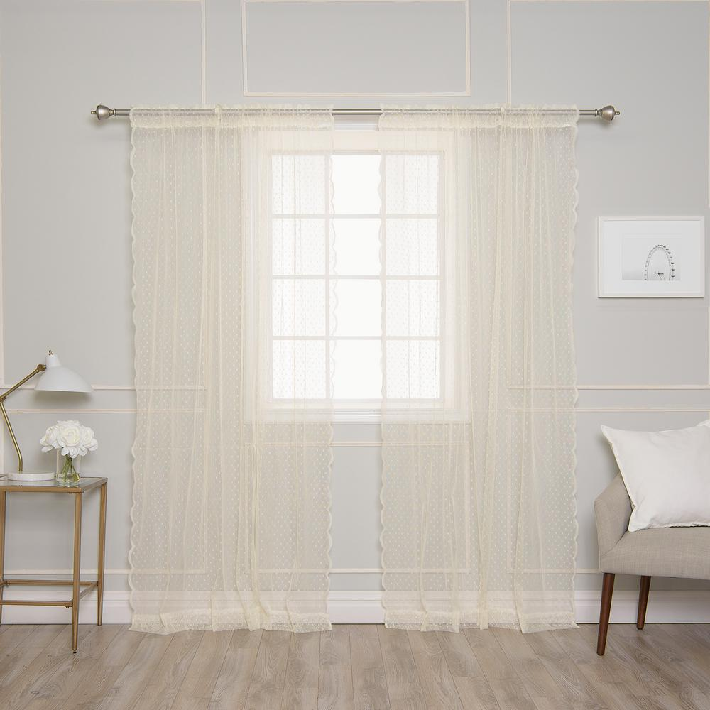best home fashion 84 in l ivory sheer lace dot curtain. Black Bedroom Furniture Sets. Home Design Ideas