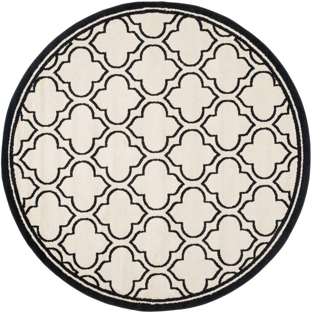 Safavieh Amherst Ivory/Anthracite 7 ft. x 7 ft. Indoor/Outdoor Round Area Rug