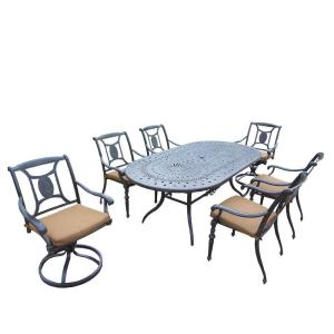Oakland Living Cast Aluminum 7-Piece Oval Patio Dining Set with Sunbrella Cushions by Oakland Living