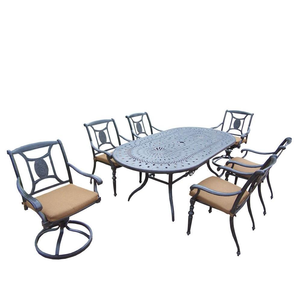 Cast Aluminum 7-Piece Oval Patio Dining Set with Sunbrella Cushions