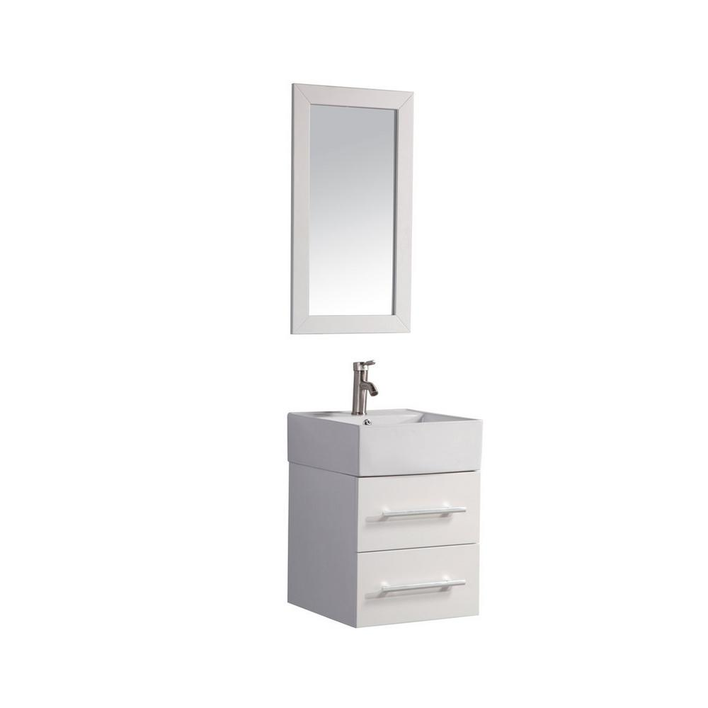 MTD Vanities Nepal 18 in. W x 18 in. D x 25.6 in. H Vanity in White with Porcelain Vanity Top in White with White Basin and Mirror