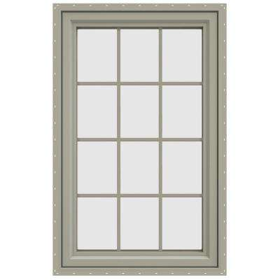 29.5 in. x 47.5 in. V-4500 Series Left-Hand Casement Vinyl Window with Grids - Tan