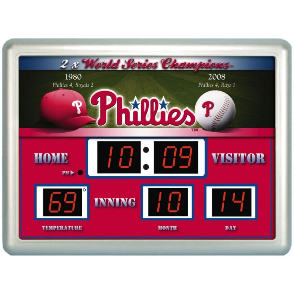 null Philadelphia Phillies 14 in. x 19 in. Scoreboard Clock with Temperature
