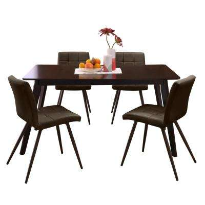Windsor 5-Piece Dining Set with Espresso Rectangle Table and Armless Upholstered Dining Chairs in Espresso Brown Fabric