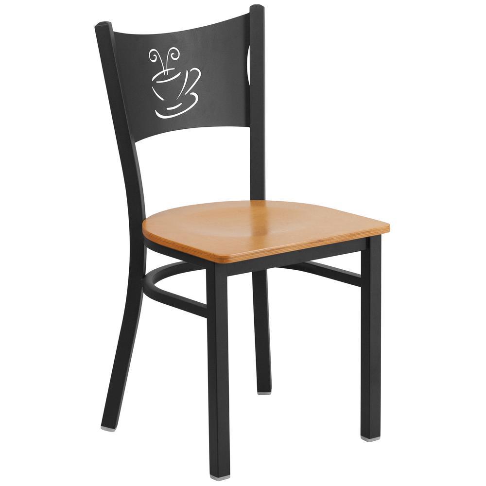 Hercules Series Black Coffee Back Metal Restaurant Chair with Natural Wood
