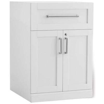 Home Bar White 24 in. 2-Door with Drawer Cabinet