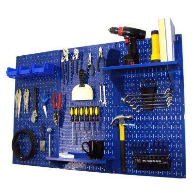 32 in. x 48 in. Metal Pegboard Standard Tool Storage Kit with Blue Pegboard and Blue Peg Accessories