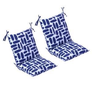 20 in. x 37 in. Baja Nautical Outdoor Mid Back Dining Chair Cushion (2-Pack)