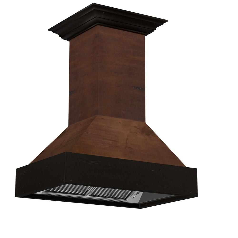 ZLINE Kitchen and Bath 36 in. Wooden Island Mount Range Hood in Walnut - Includes 1200 CFM Motor