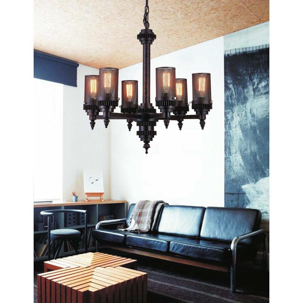 CWI Lighting Vivian 6-Light Rust Chandelier