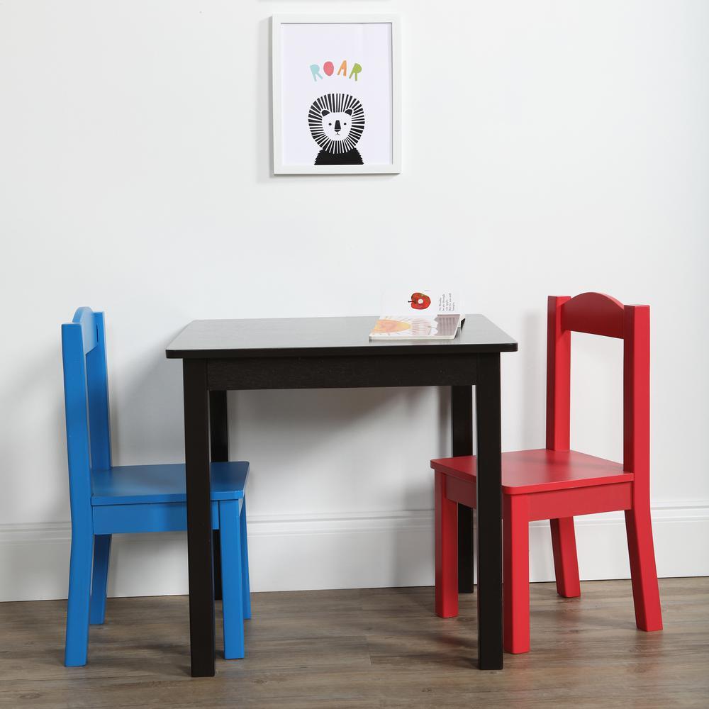 Kids Table And Chairs Set Espresso: Tot Tutors Pierce 3-Piece Espresso/Primary Kids Square