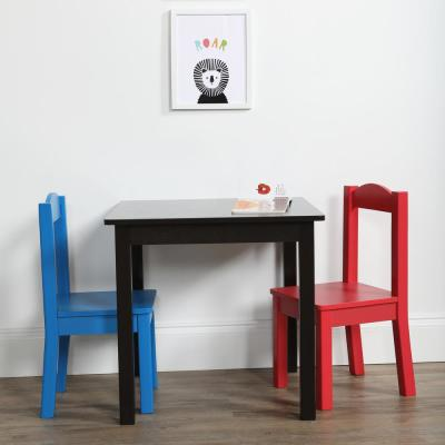 Pierce 3-Piece Espresso/Primary Kids Square Table and Chair Set