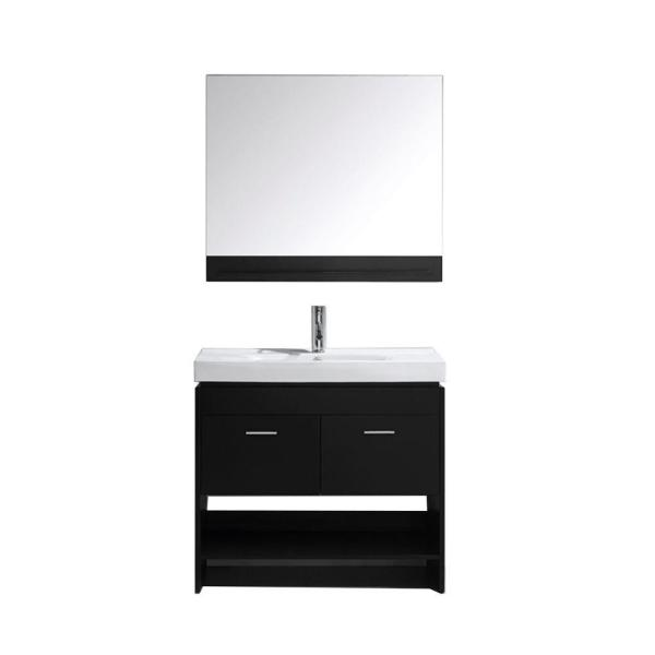 Gloria 36 in. W Bath Vanity in Espresso with Ceramic Vanity Top in White Ceramic with Square Basin and Mirror and Faucet