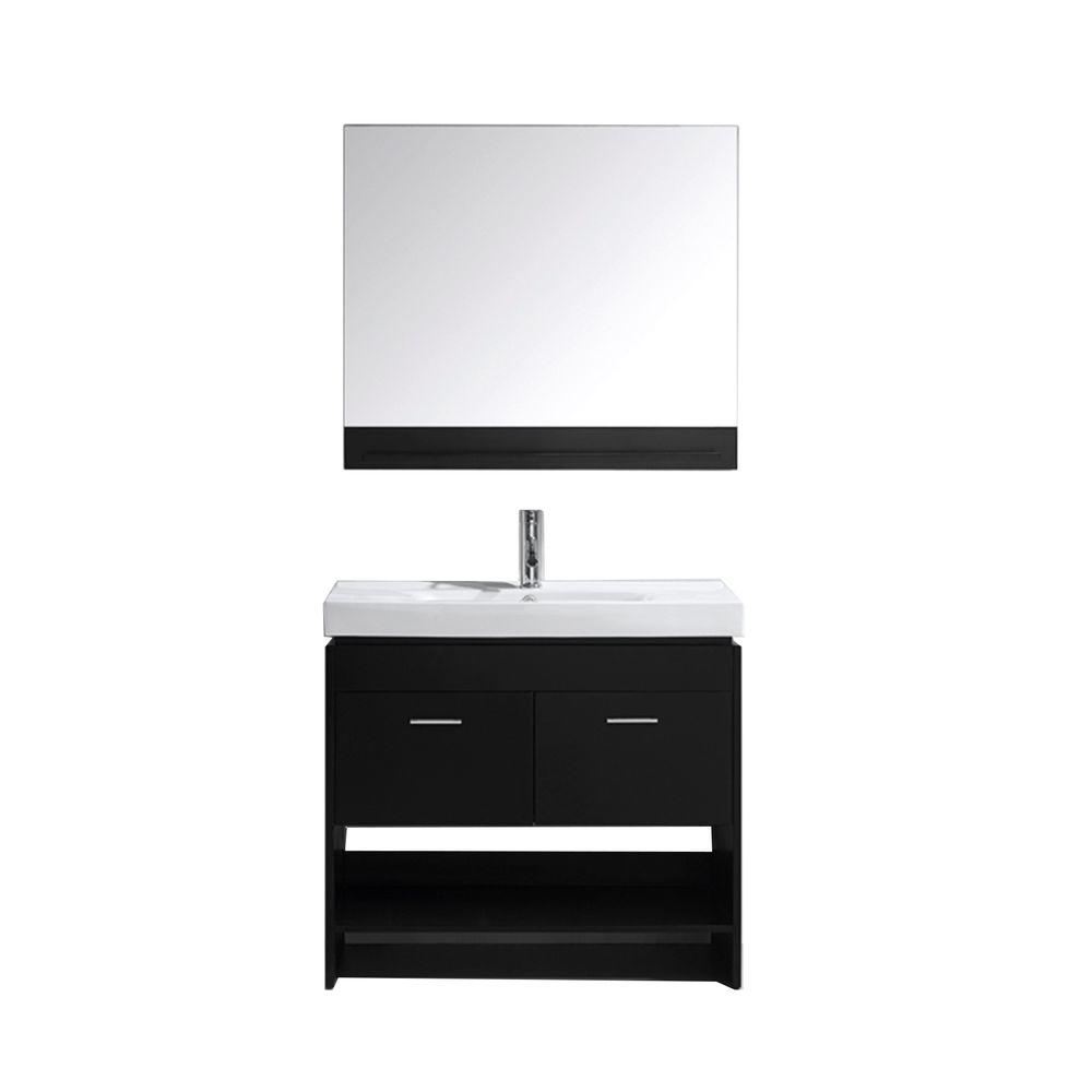 Virtu USA Gloria 36 in. W Bath Vanity in Espresso with Ceramic Vanity Top in White Ceramic with Square Basin and Mirror and Faucet