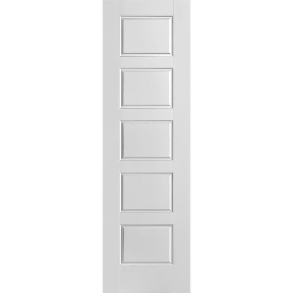 24 in. x 80 in. Riverside Smooth 5-Panel Equal Hollow Core Primed Composite Interior Door Slab