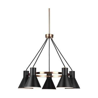 Towner 5-Light Black Shade with Satin Bronze Accents Chandelier with LED Bulbs