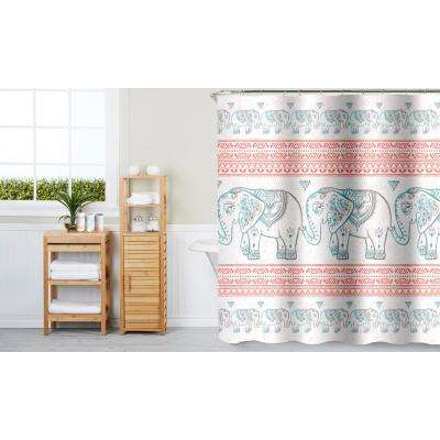 Elephant Prophet Coral 16-Piece Ceramic Accessories and Shower Curtain Set