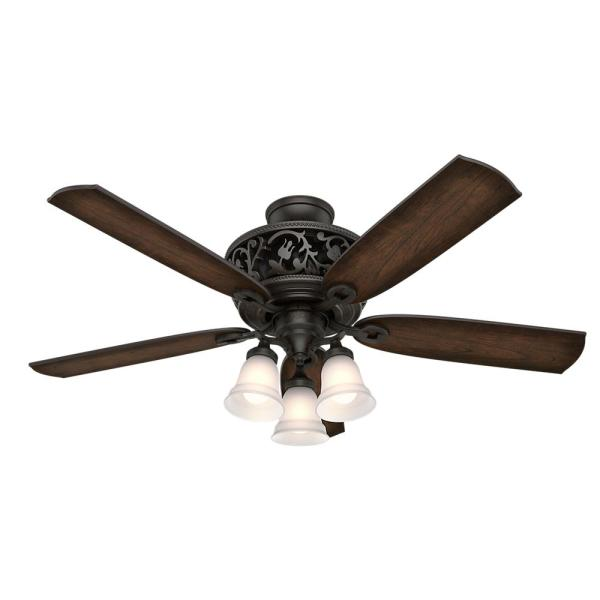 Promenade 54 in. LED Indoor Brittany Bronze Ceiling Fan with Light Kit and Remote