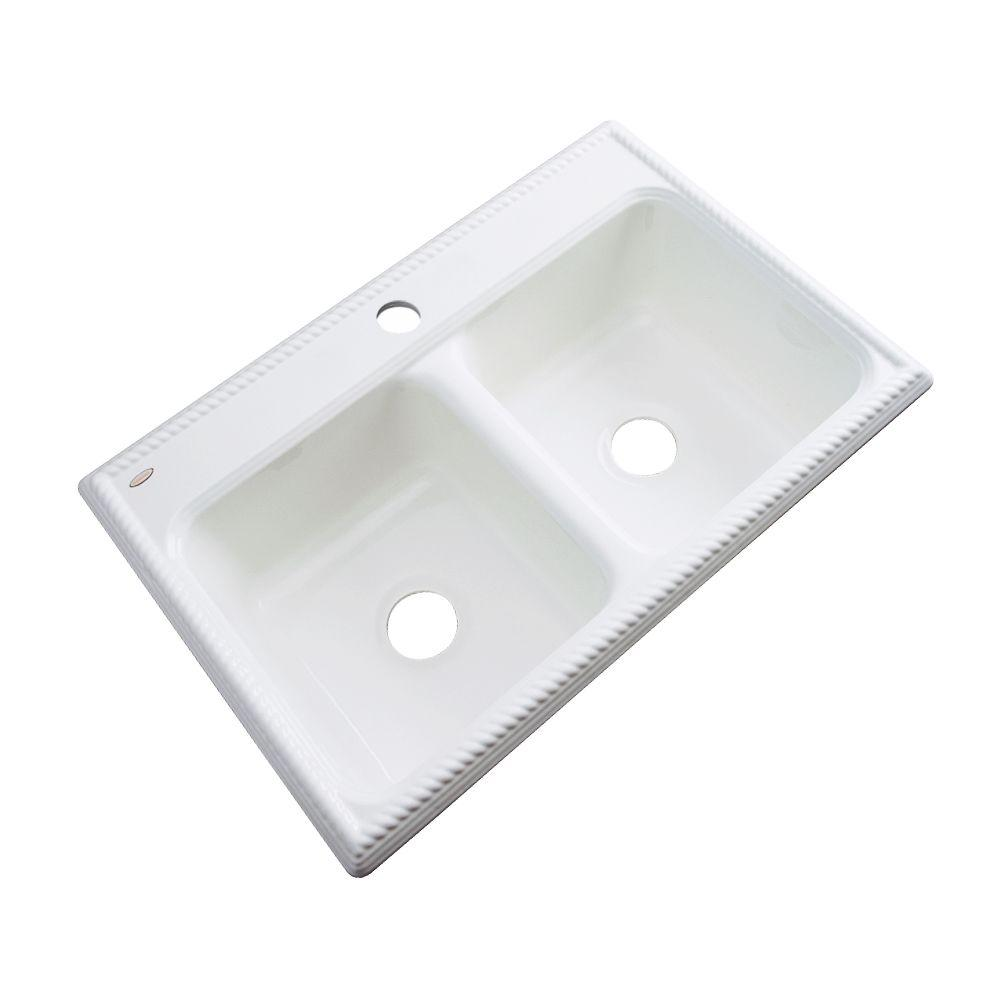 Seabrook Drop-In Acrylic 33 in. 1-Hole Double Bowl Kitchen Sink in