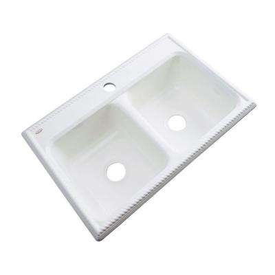 Seabrook Drop-In Acrylic 33 in. 1-Hole Double Bowl Kitchen Sink in White