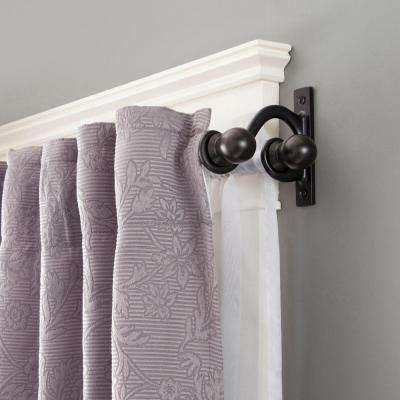Scroll Ball 28 in. - 48 in. Adjustable 5/8 in. Standard Decorative Double Curtain Rod Set in Black with Ball Finial