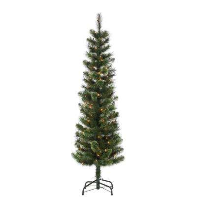 5 ft. Hard Mixed Needle Cashmere Pencil Artificial Christmas Tree with 100 Clear Lights