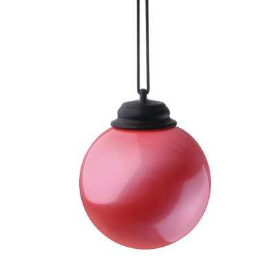 5 in. Pink LED Hanging Patio Globe