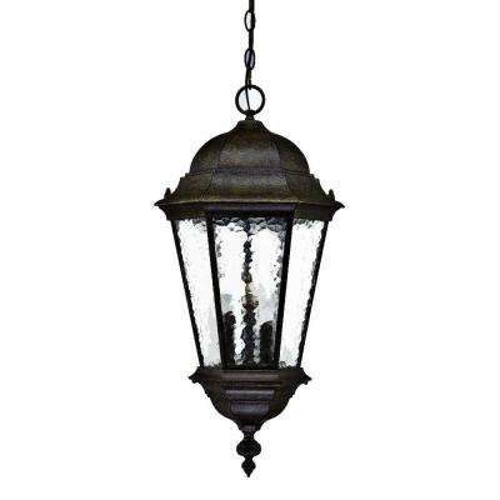 Telfair Collection 3-Light Black Coral Outdoor Hanging Light Fixture