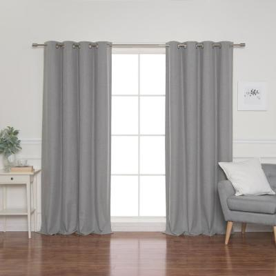 Linen Look 52 in. W x 84 in. L Grommet Curtains in Grey (2-Pack)