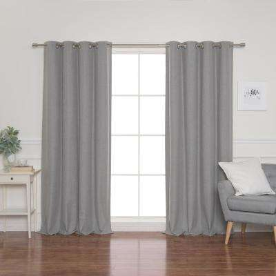 Linen Look 52 in. W x 96 in. L Grommet Curtains in Grey (2-Pack)