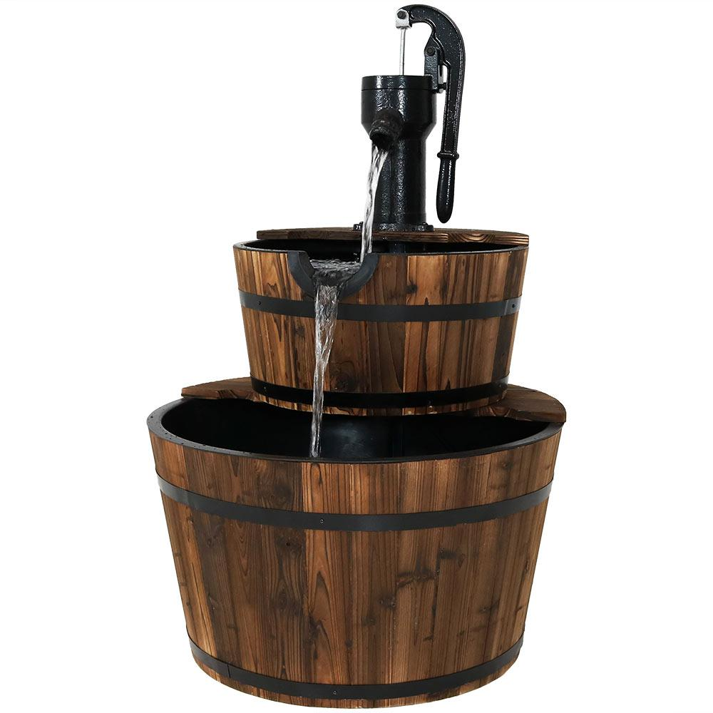 2 Tier Rustic Wood Barrel Water Fountain With Hand Pump