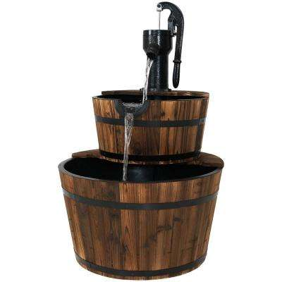 37 in. 2-Tier Rustic Wood Barrel Water Fountain with Hand Pump